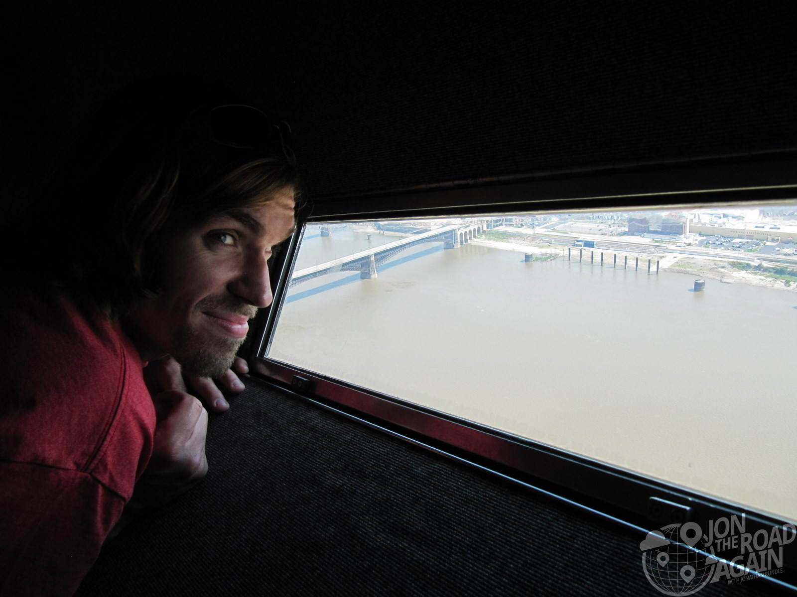 Looking out the st louis arch window