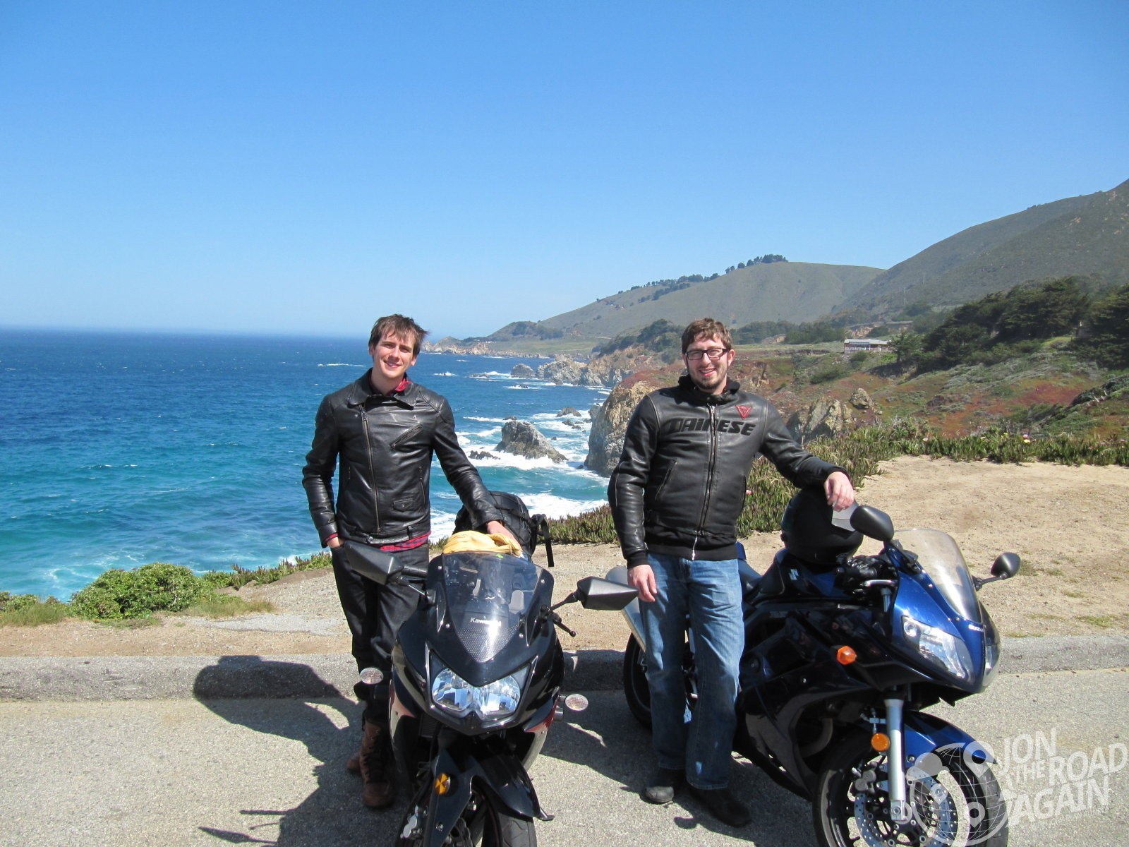 Posing with our motorcycles at Highway 1