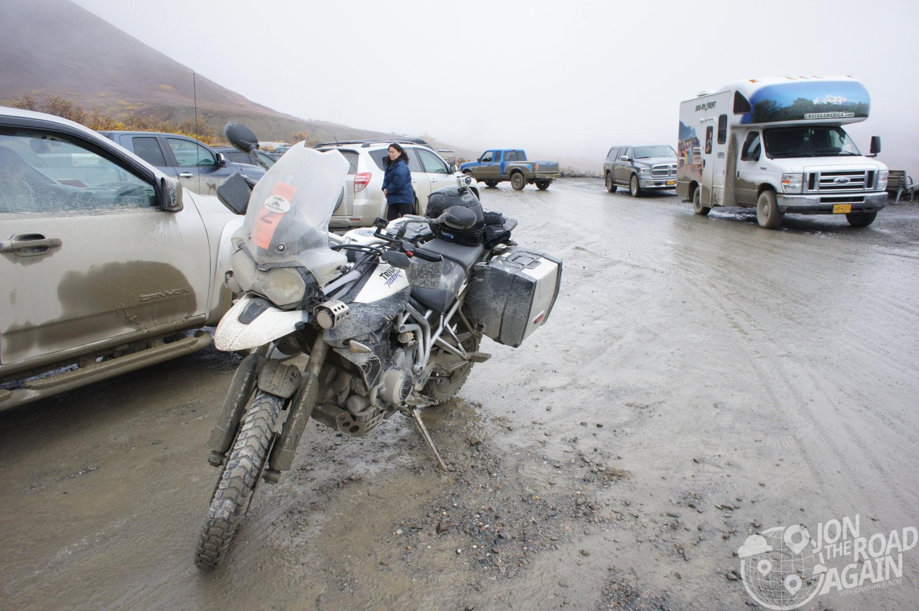 Triumph Tiger covered in Mud