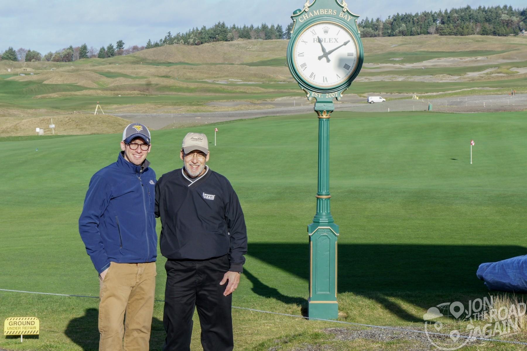 Dad and I at Chamber's Bay Clock