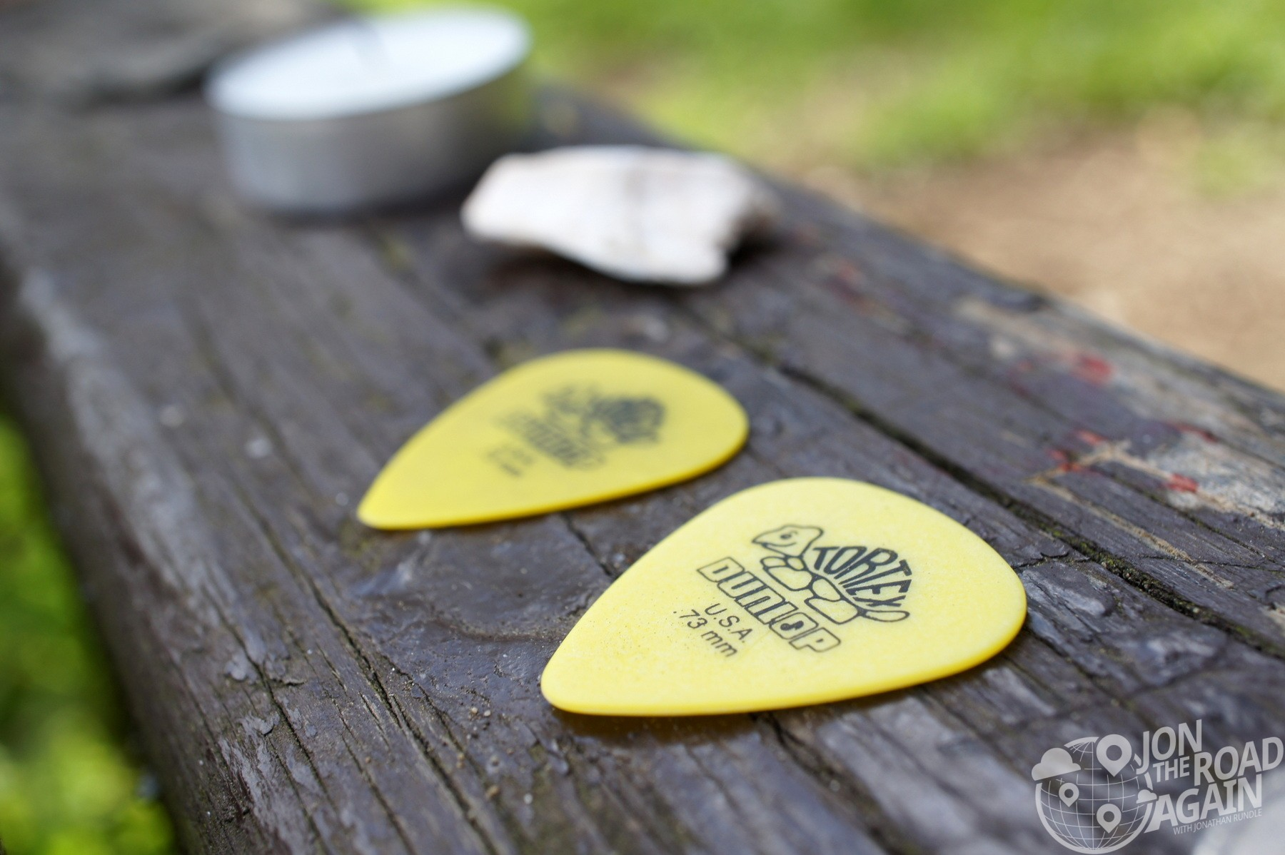 Guitar picks on the bench
