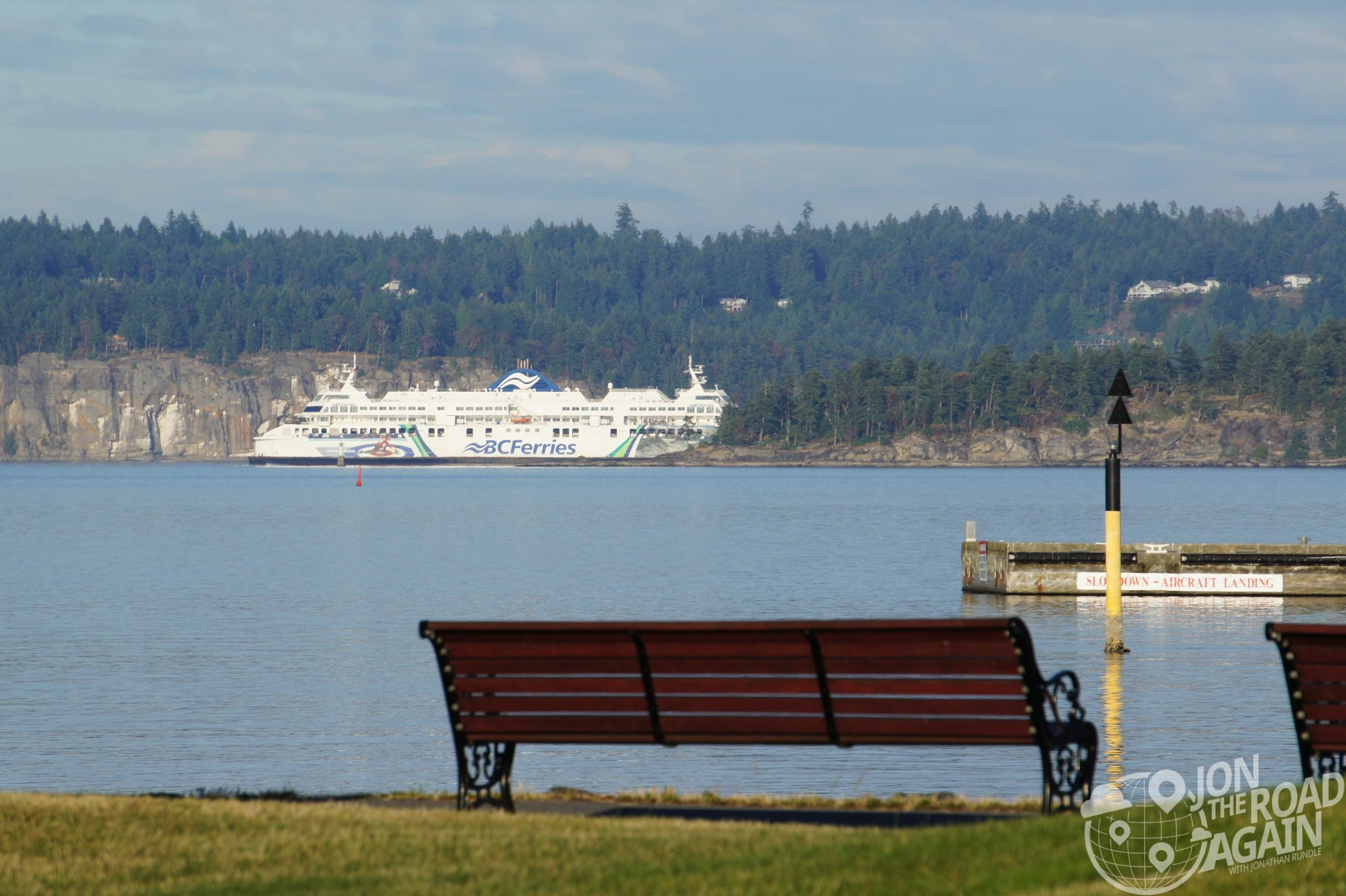 park bench and BC ferry