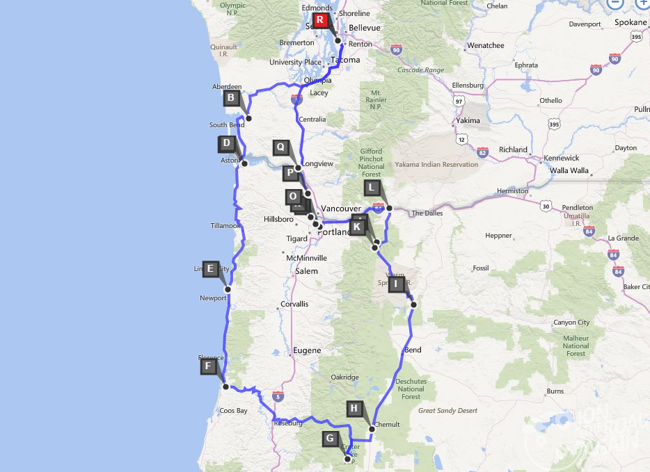 Oregon Map Route
