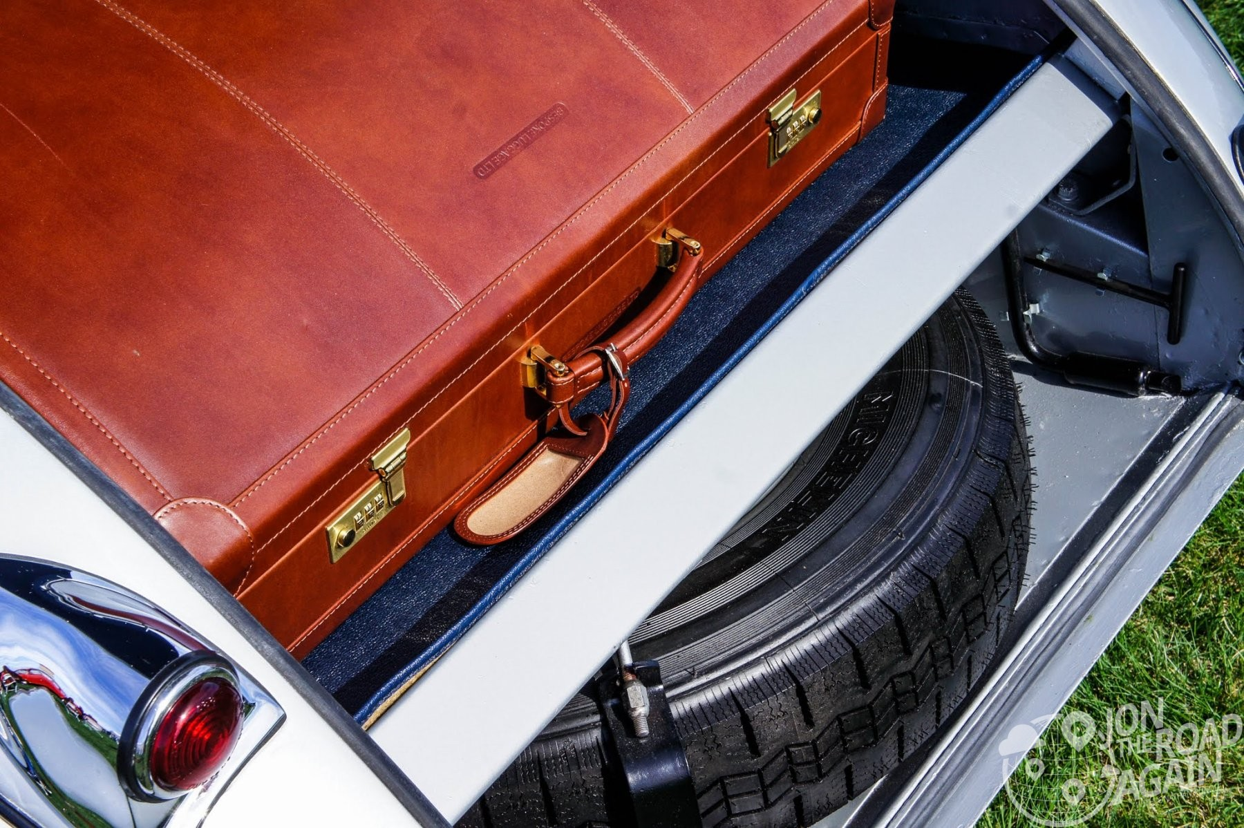 Bespoke leather luggage in a Jaguar