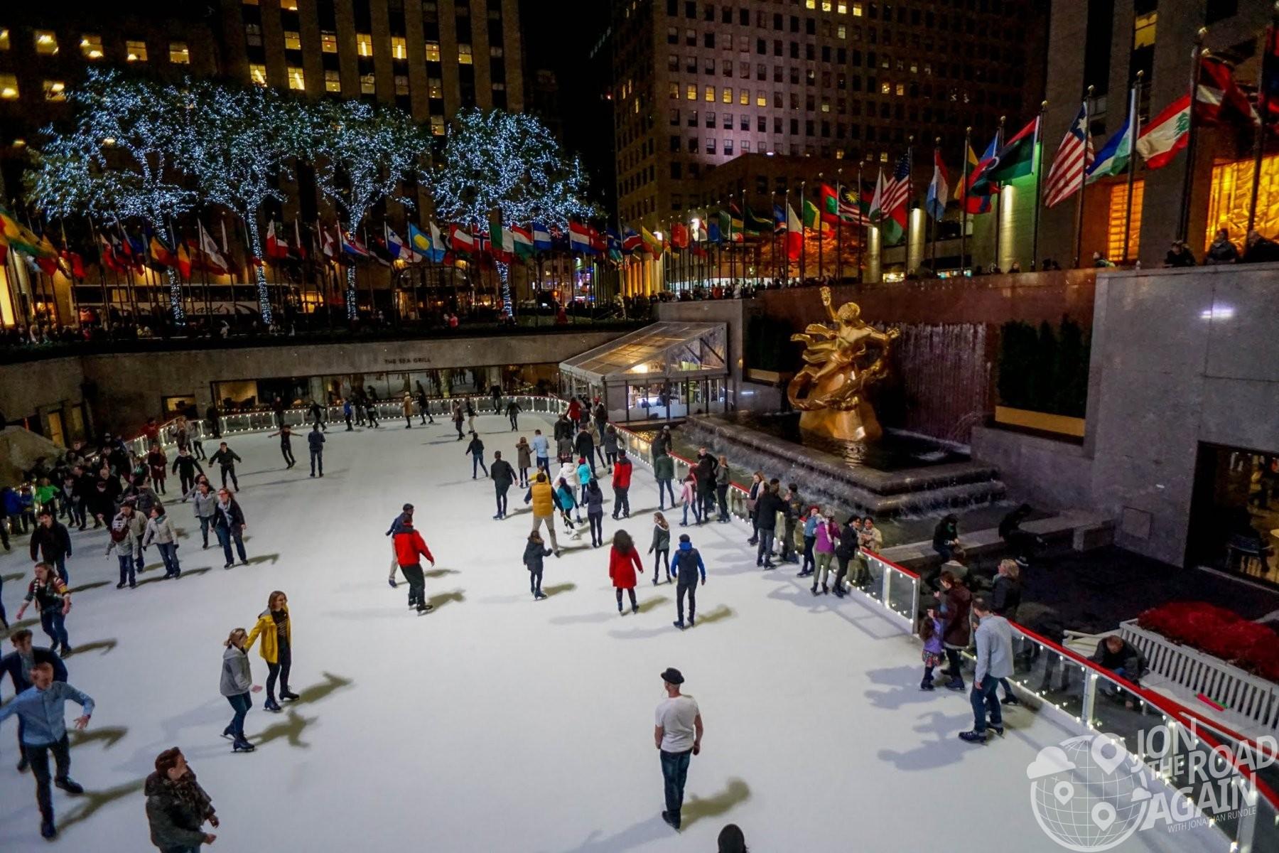 Ice Skating Rink and Rockefeller Center