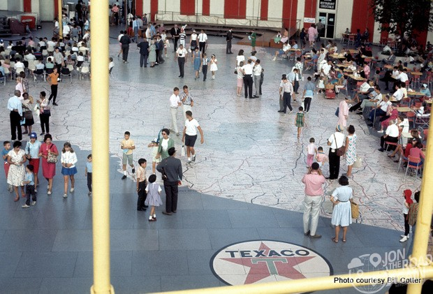 On the interior floor of the pavilion's mezzanine was a 9,000-square-foot map, made of 567 terrazzo panels, of the state of New York, based on a map from Texaco Company. Each terrazzo panel weighed an impressive 400 lbs. Meticulously detailed to scale, the cities, highways, roads, and, yes, Texaco gas stations, are all accurately mapped. Visitors from across New York would stand on their cities for a classic photo op -- one of many photo ops and lasting memories of what has been called one of the most popular world's fairs in history.