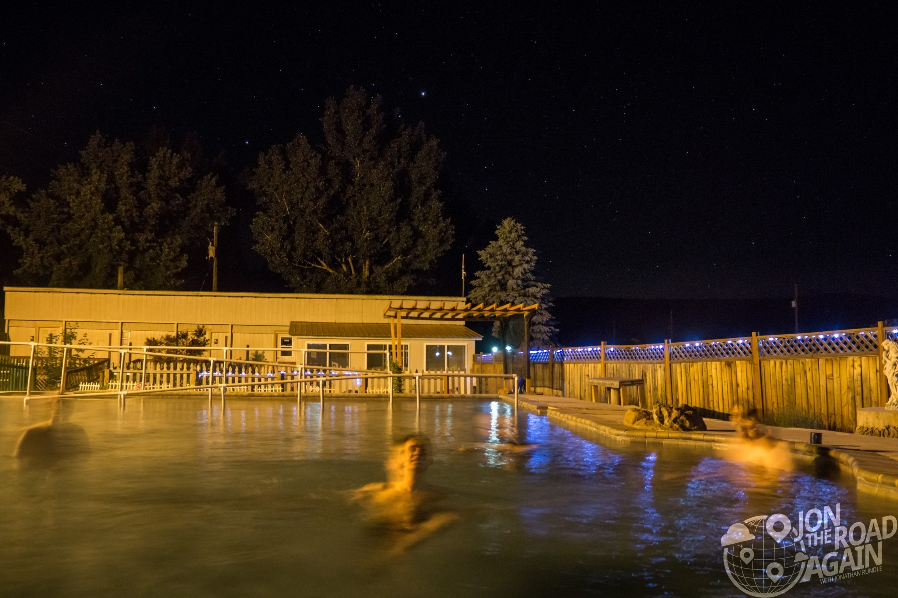 Mundo Hot Springs at night