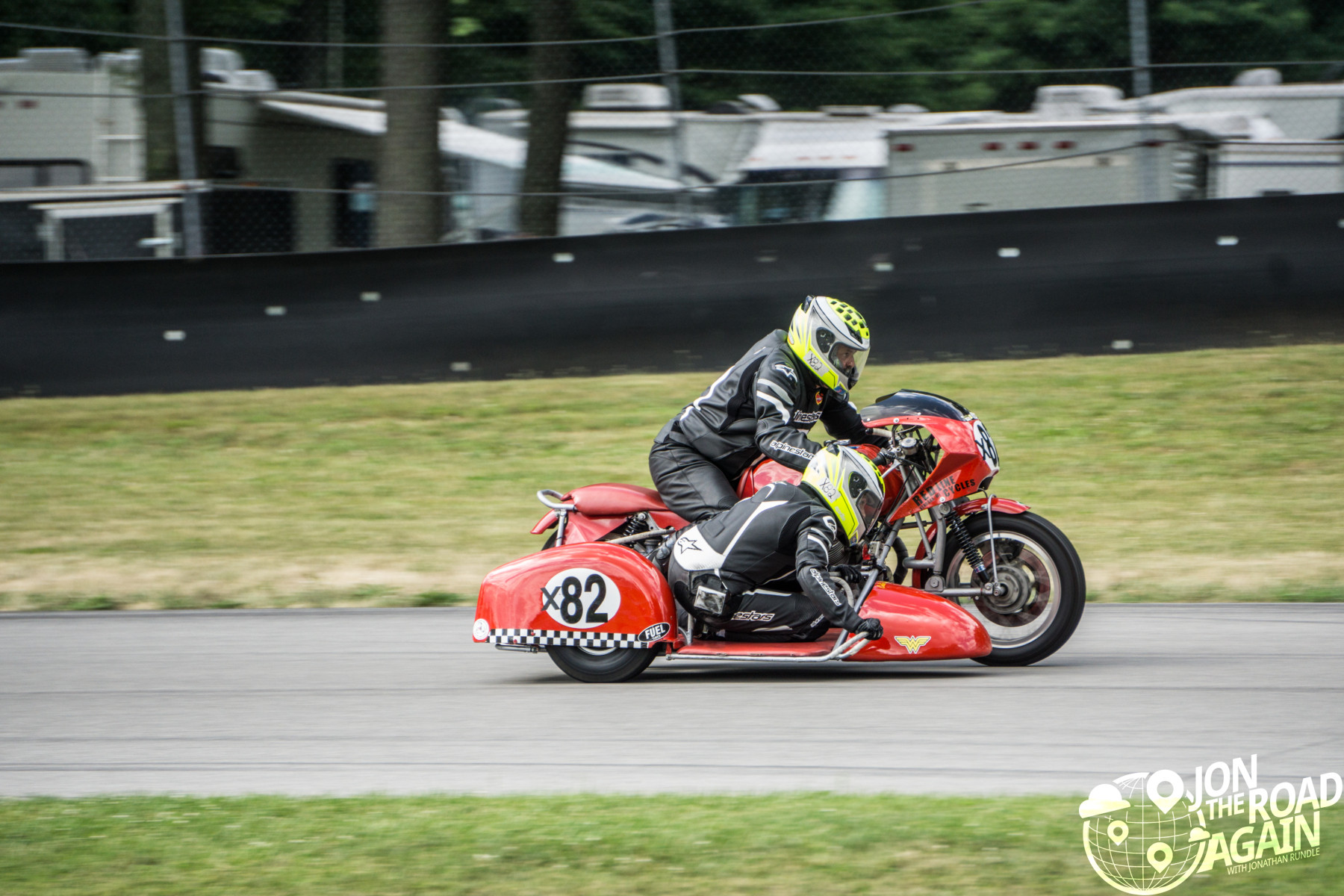 Sidecar Motorcycle racing at mid-ohio at AMA Vintage Motorcycle Days