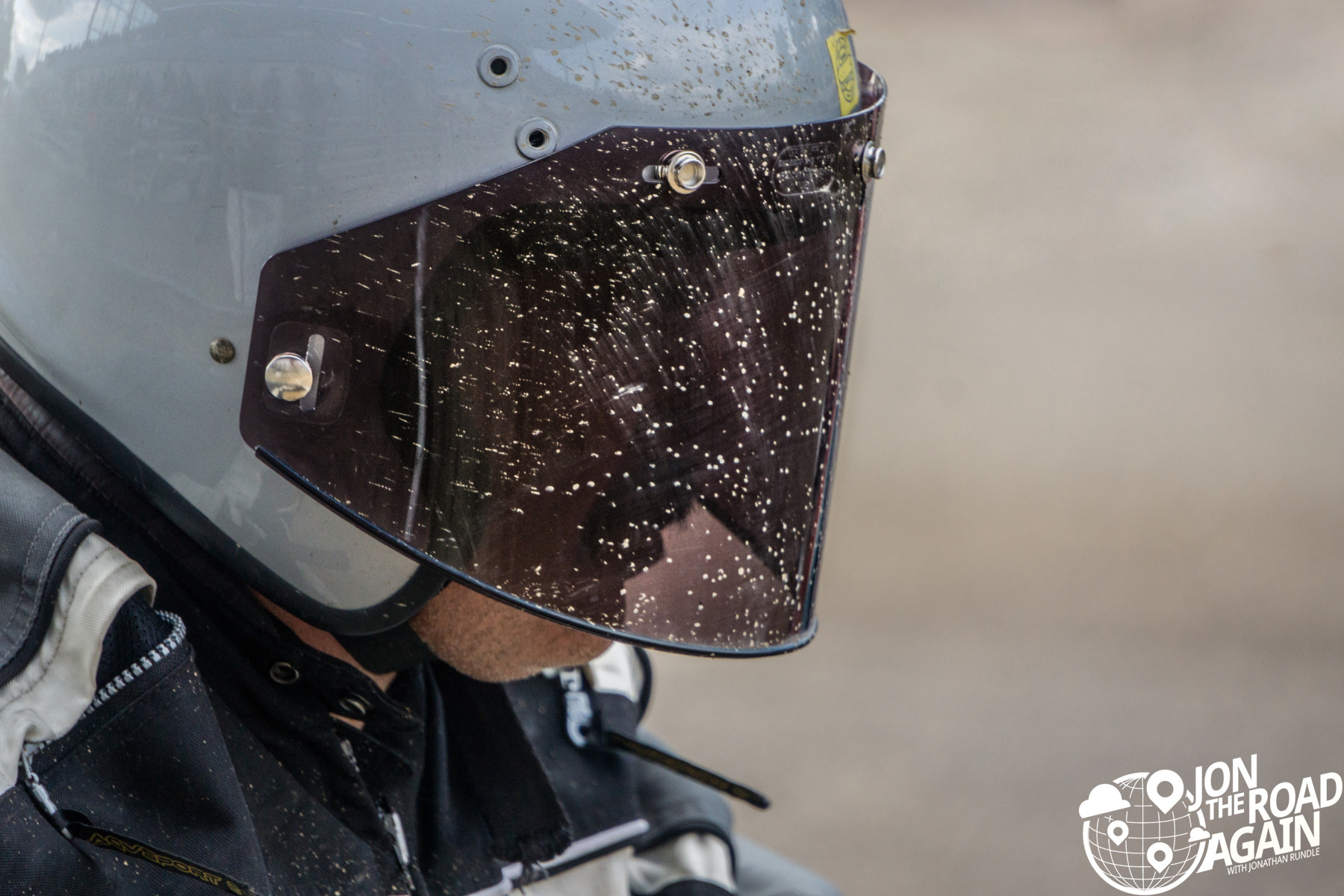 Flat track motorcycle racer's face shield at Ashland fairgrounds during AMA Vintage Motorcycle Days