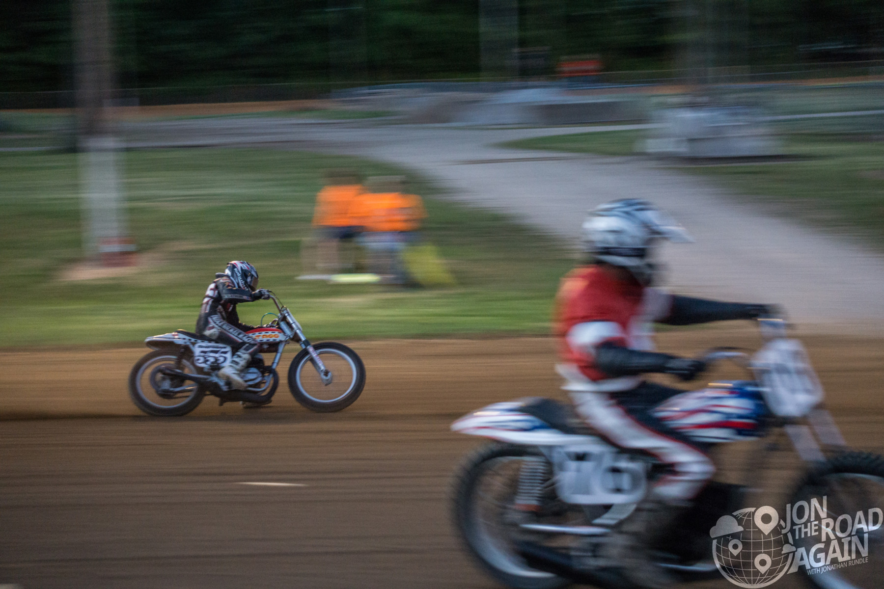 Flat track motorcycle racing at Ashland fairgrounds during AMA Vintage Motorcycle Days