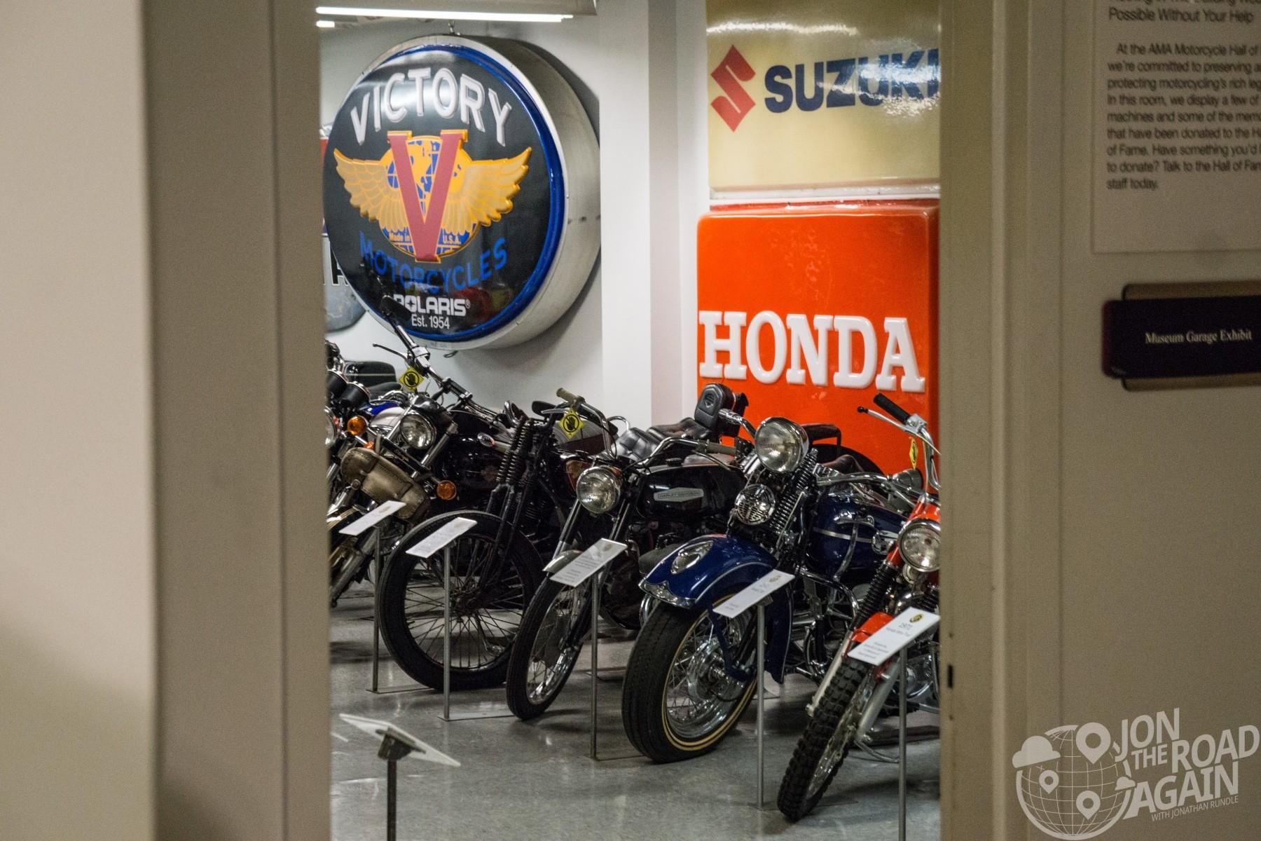 Garage display at Motorcycle Hall of Fame