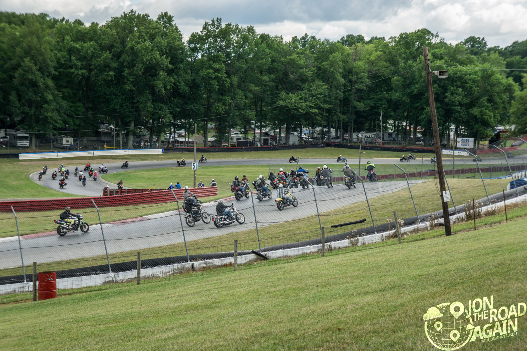 Motorcycle parade lap at mid-ohio vintage motorcycle days
