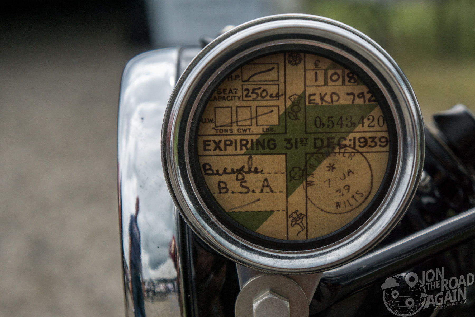 Antique BSA registration at Vintage Motorcycle Days