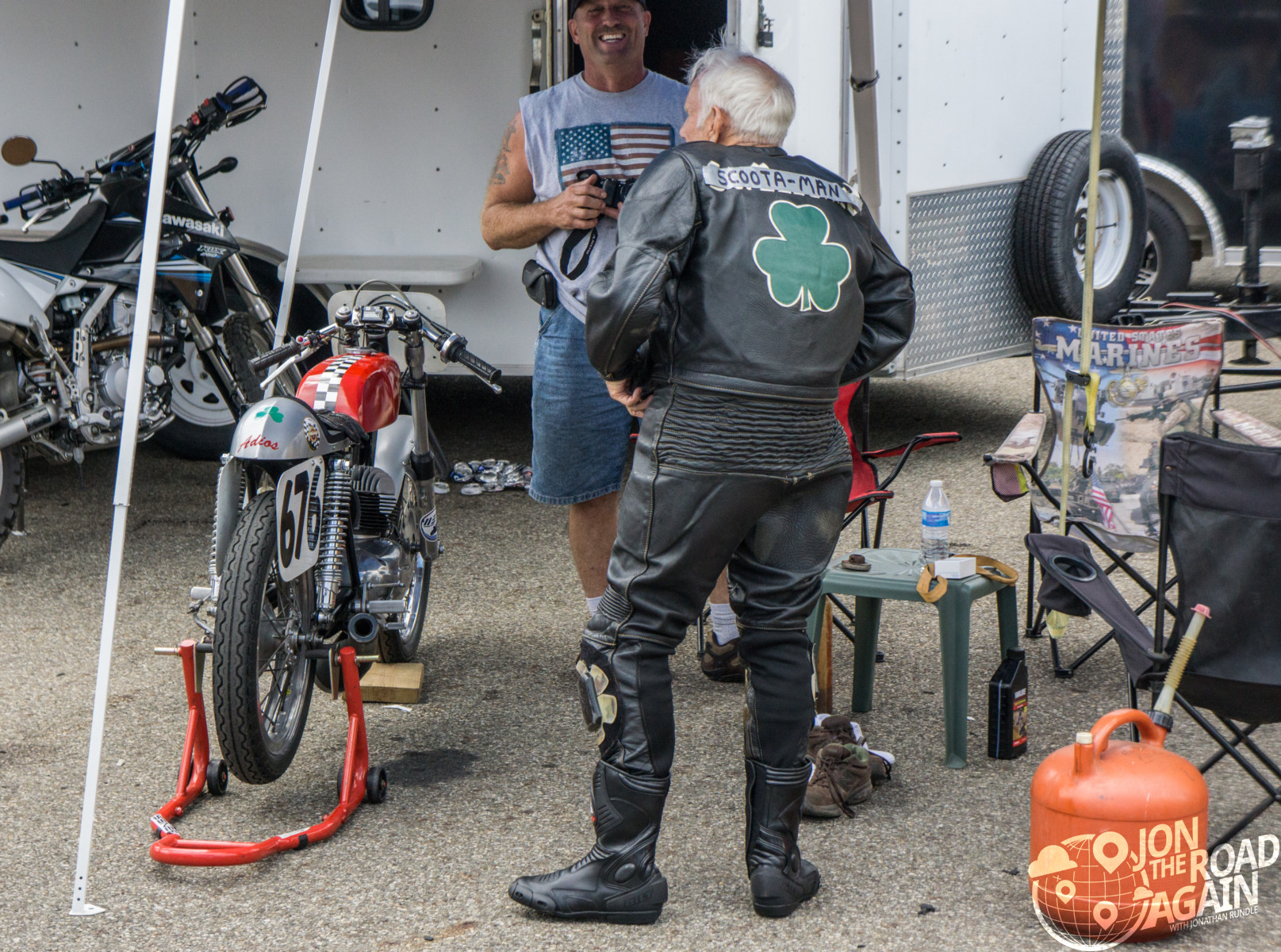 Scoota-man elderly motorcycle racer at AMA Vintage Motorcycle Days
