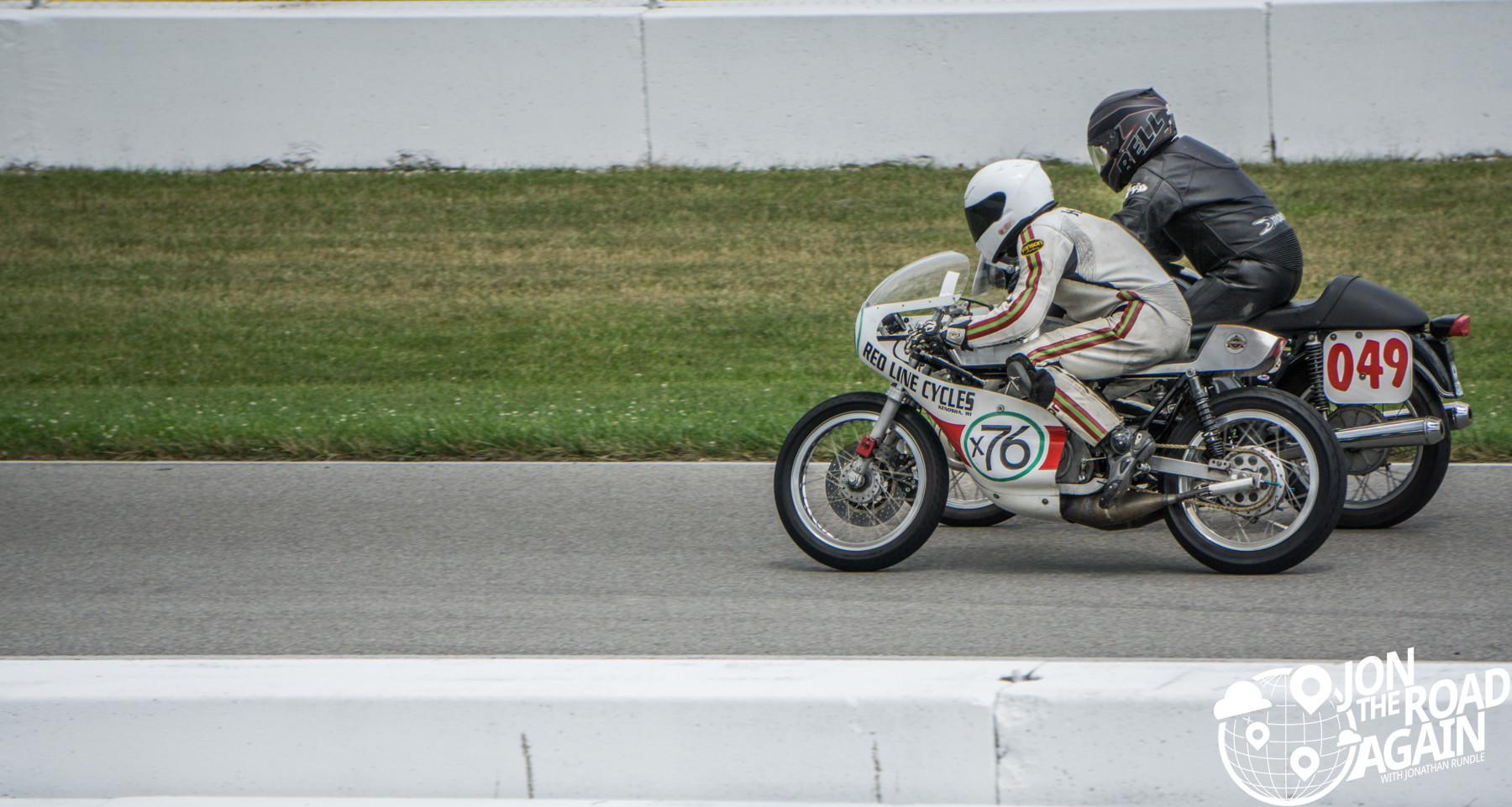 Leaving the starting line at Vintage motorcycle days