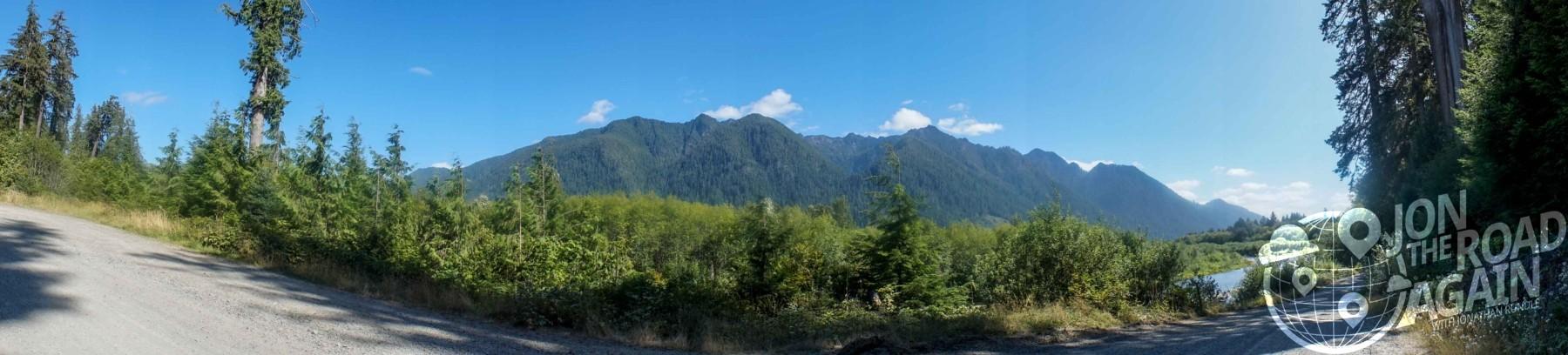 panorama above lake quinault