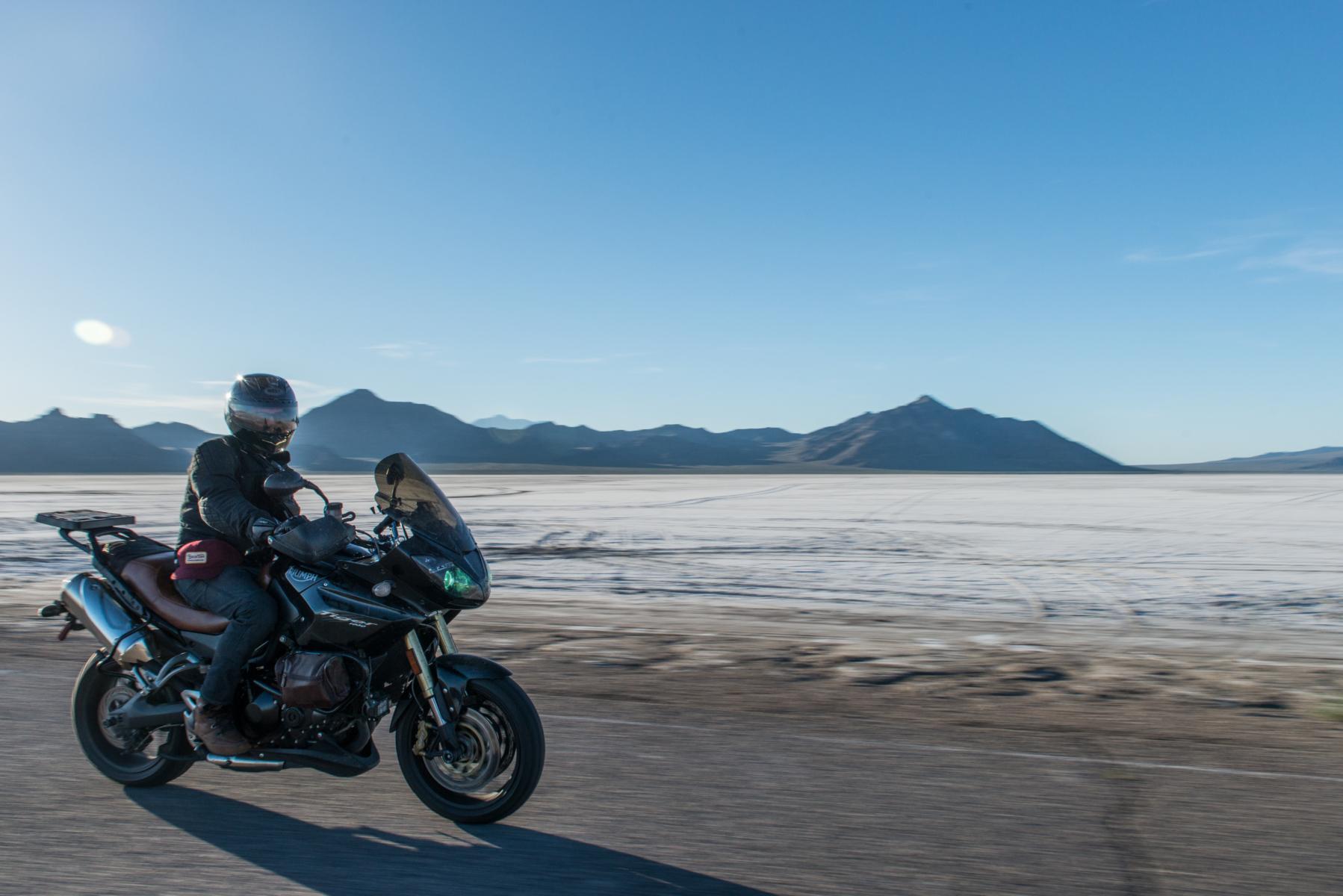 Riding out to Bonneville Salt Flats