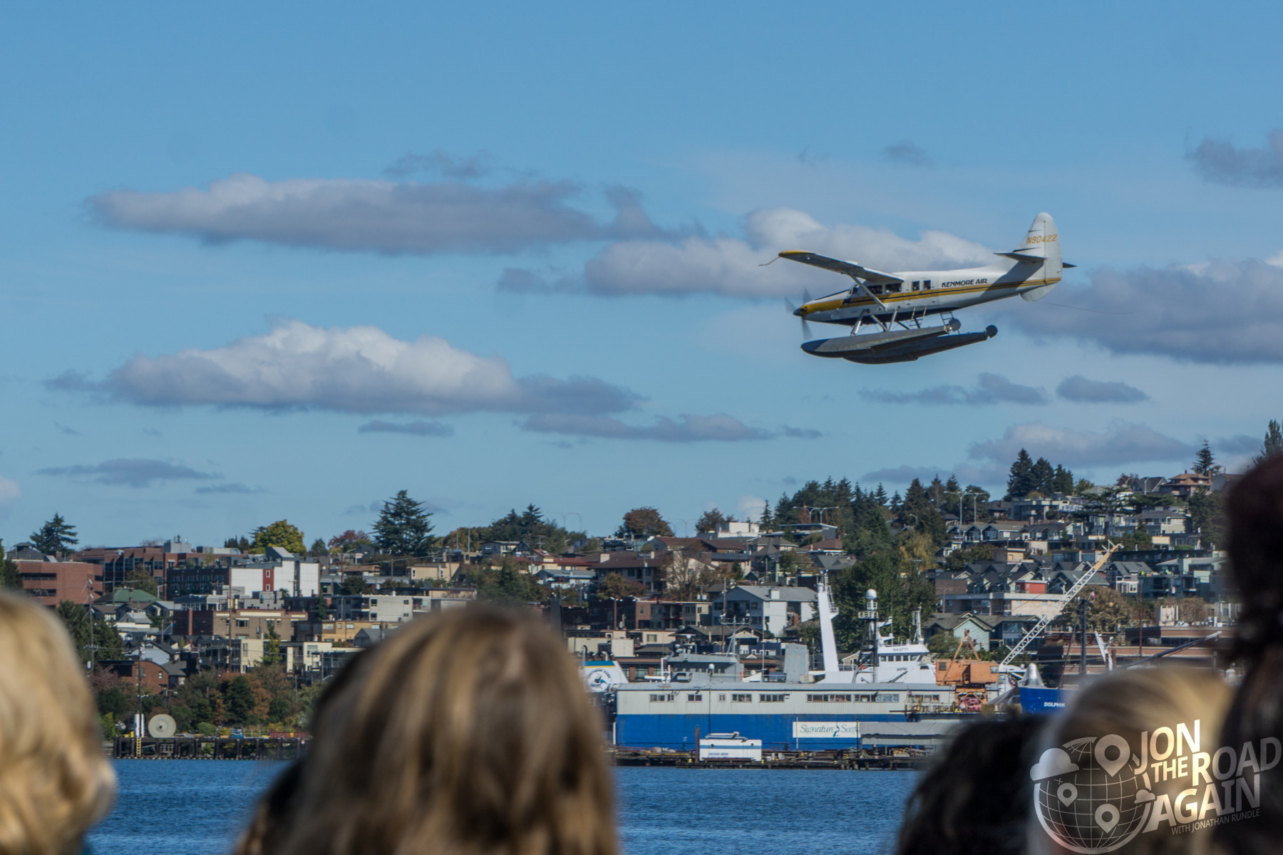 Kenmore Air seaplane landing on Lake Union