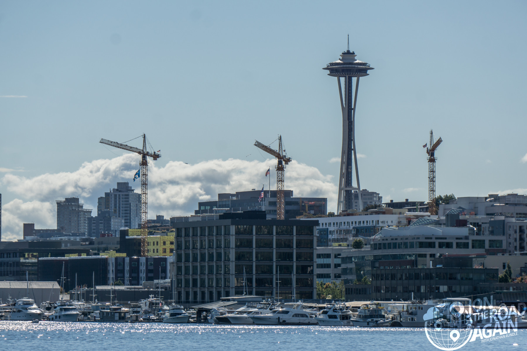 Space Needle with construction cranes