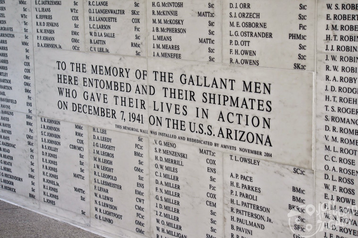 USS Arizona Memorial Name Wall