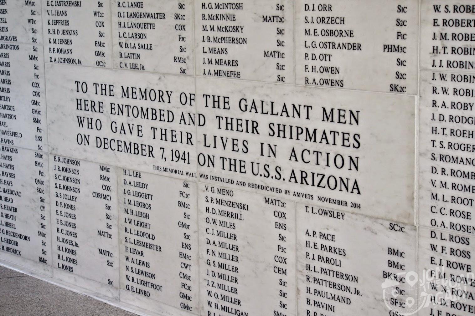 USS Arizona Memorial Name Wall