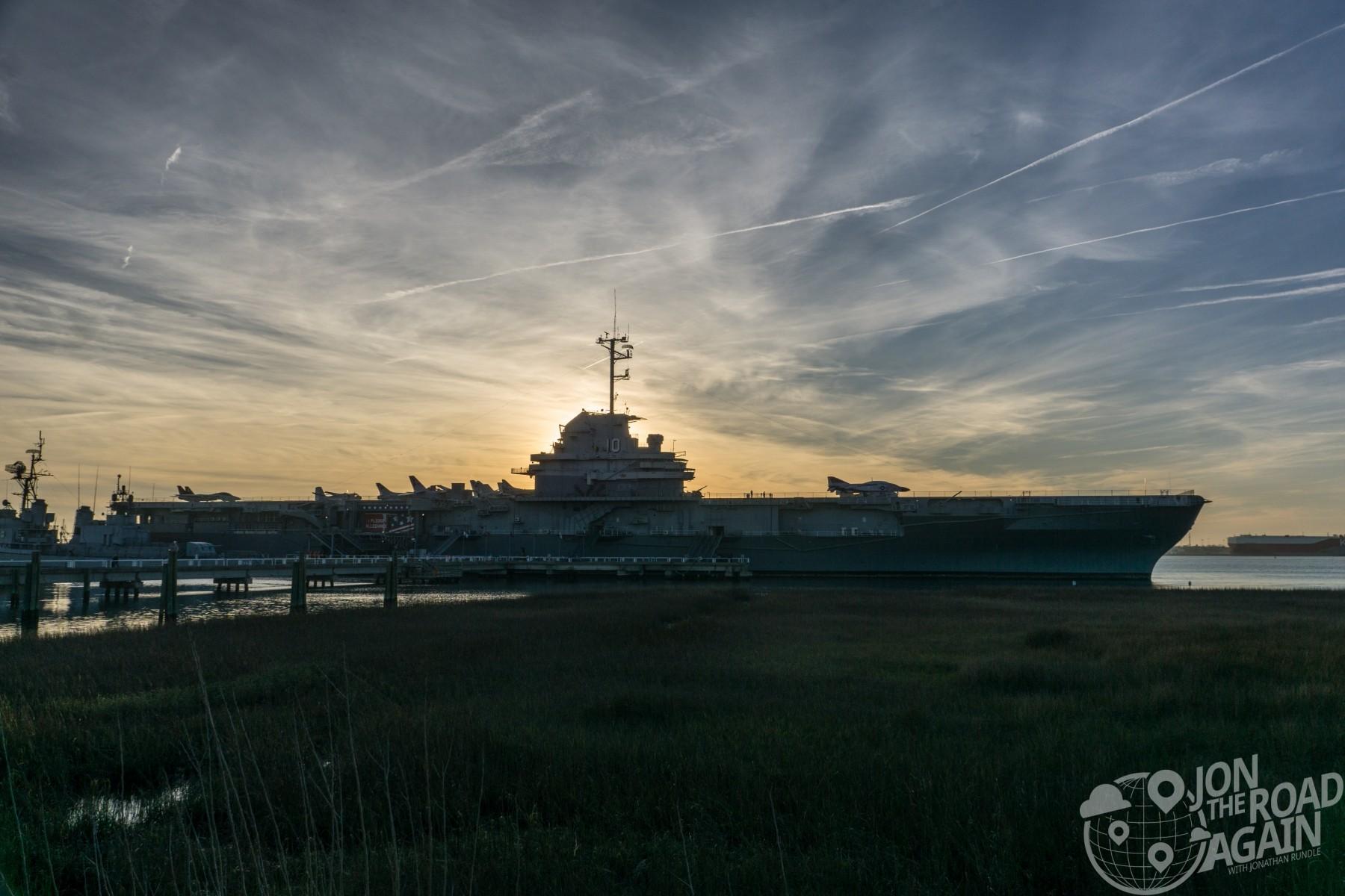 USS Yorktown at sunset