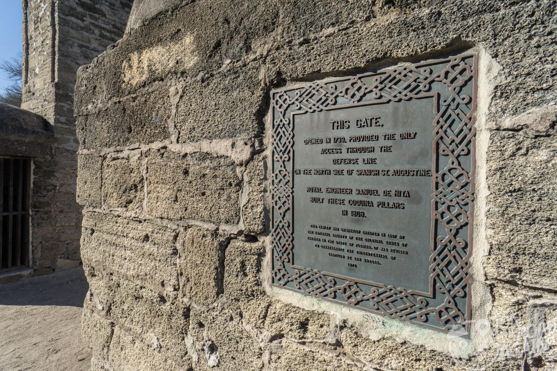 St. Augustine Gates Plaque