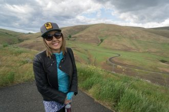 Whitney with the Maryhill Loops Road