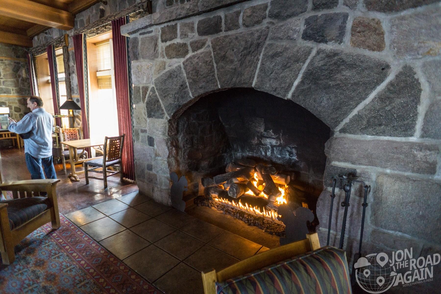 Crate Lake Lodge fireplace