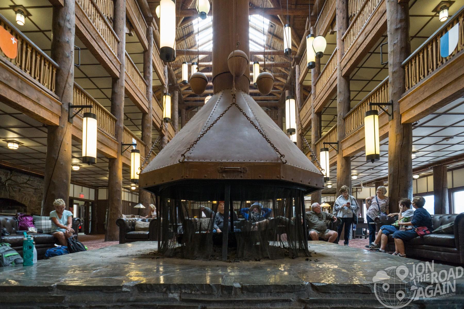 Many glacier hotel lobby fireplace