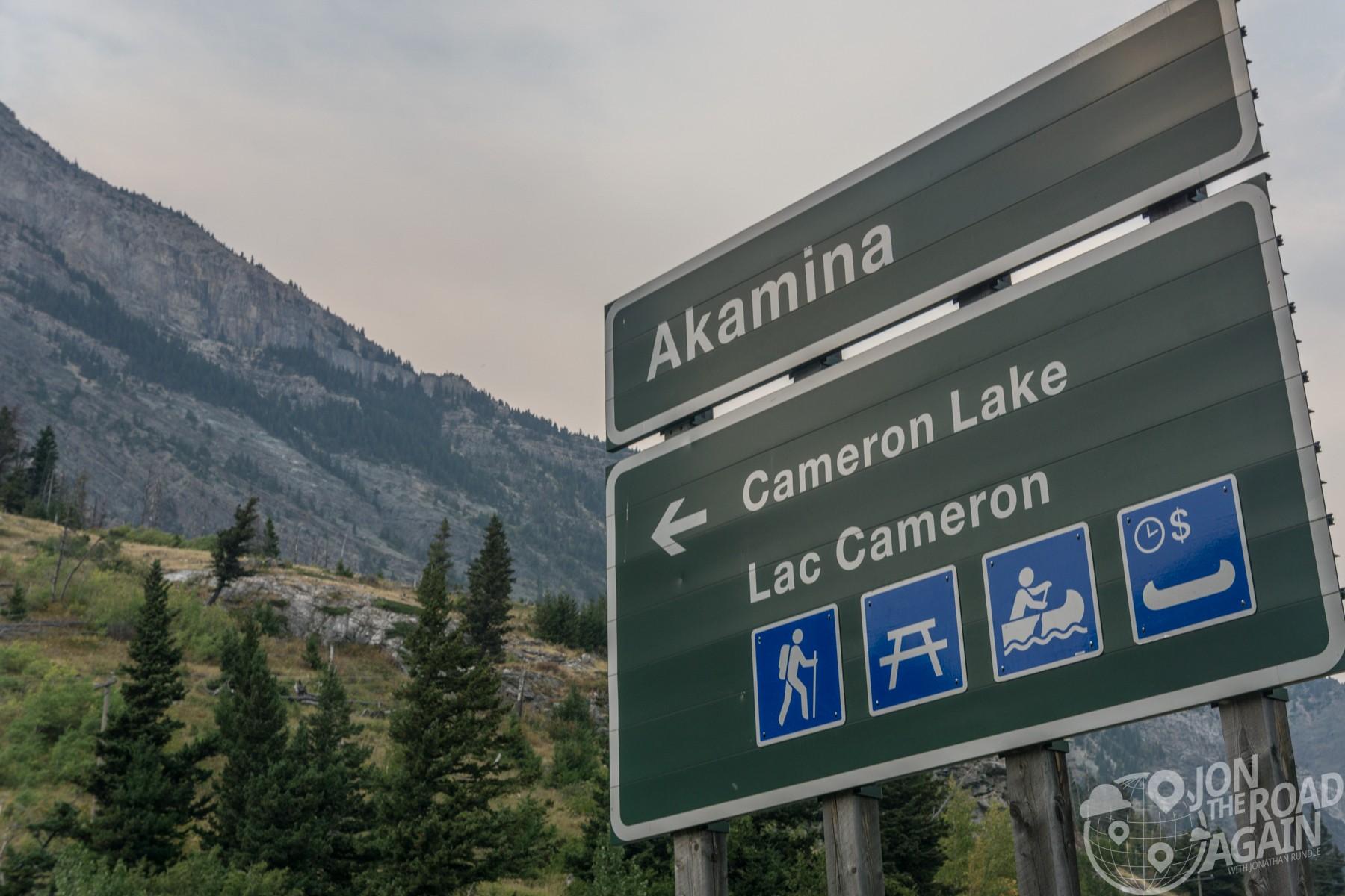 Road sign to Cameron Lake