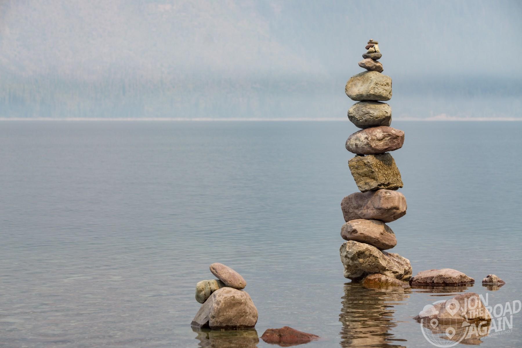 Lake Mcdonald rock stacking
