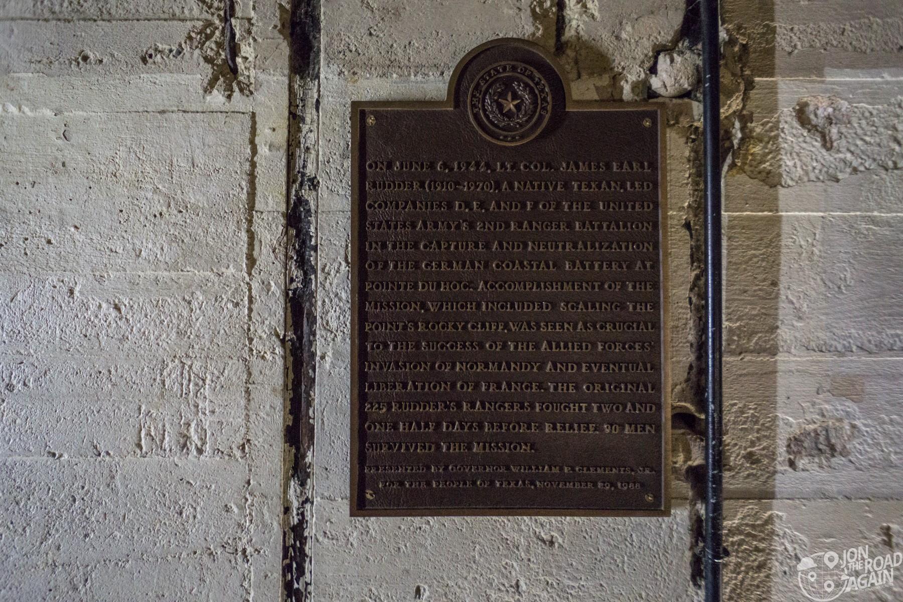Pointe du Hoc Texas plaque