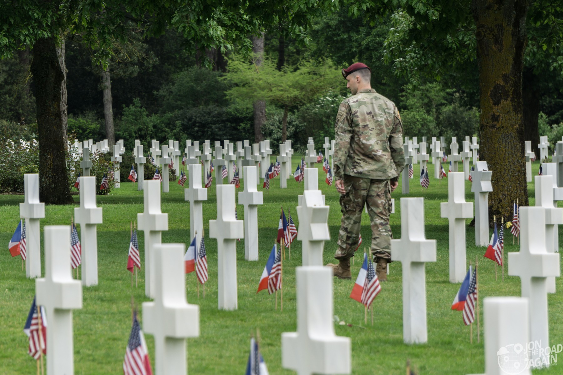 American soldier at Normandy American Cemetery