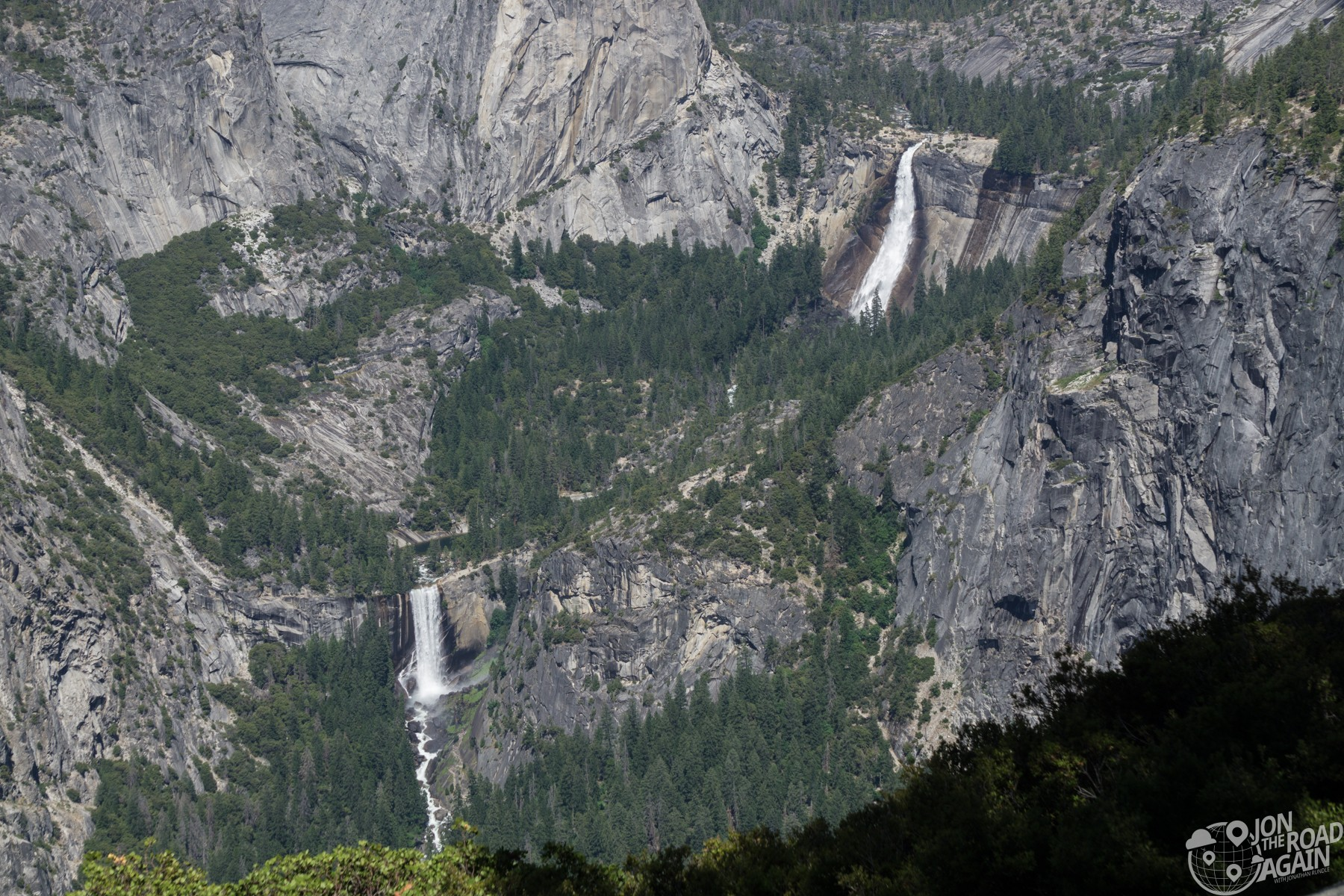 Vernal Fall and Nevada Fall from Glacier Point