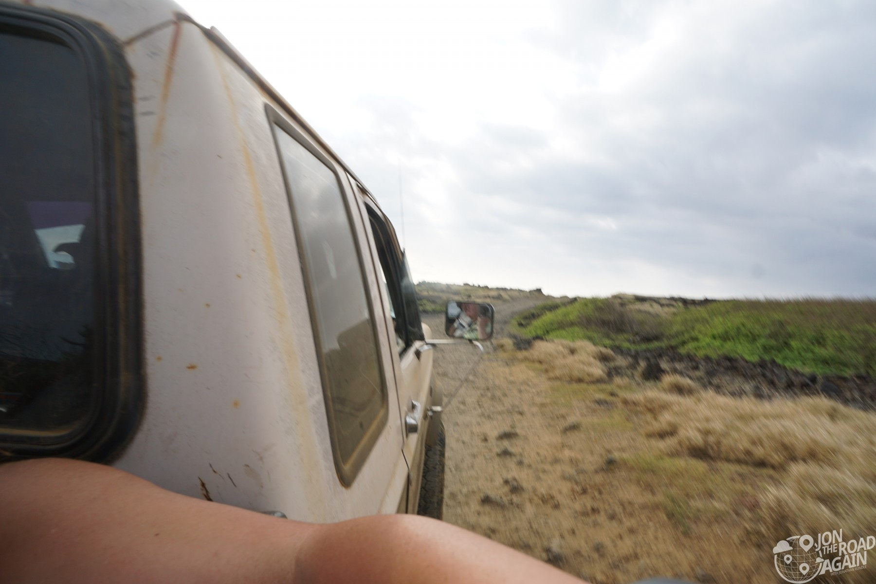 Riding in a truck to Green Sand Beach