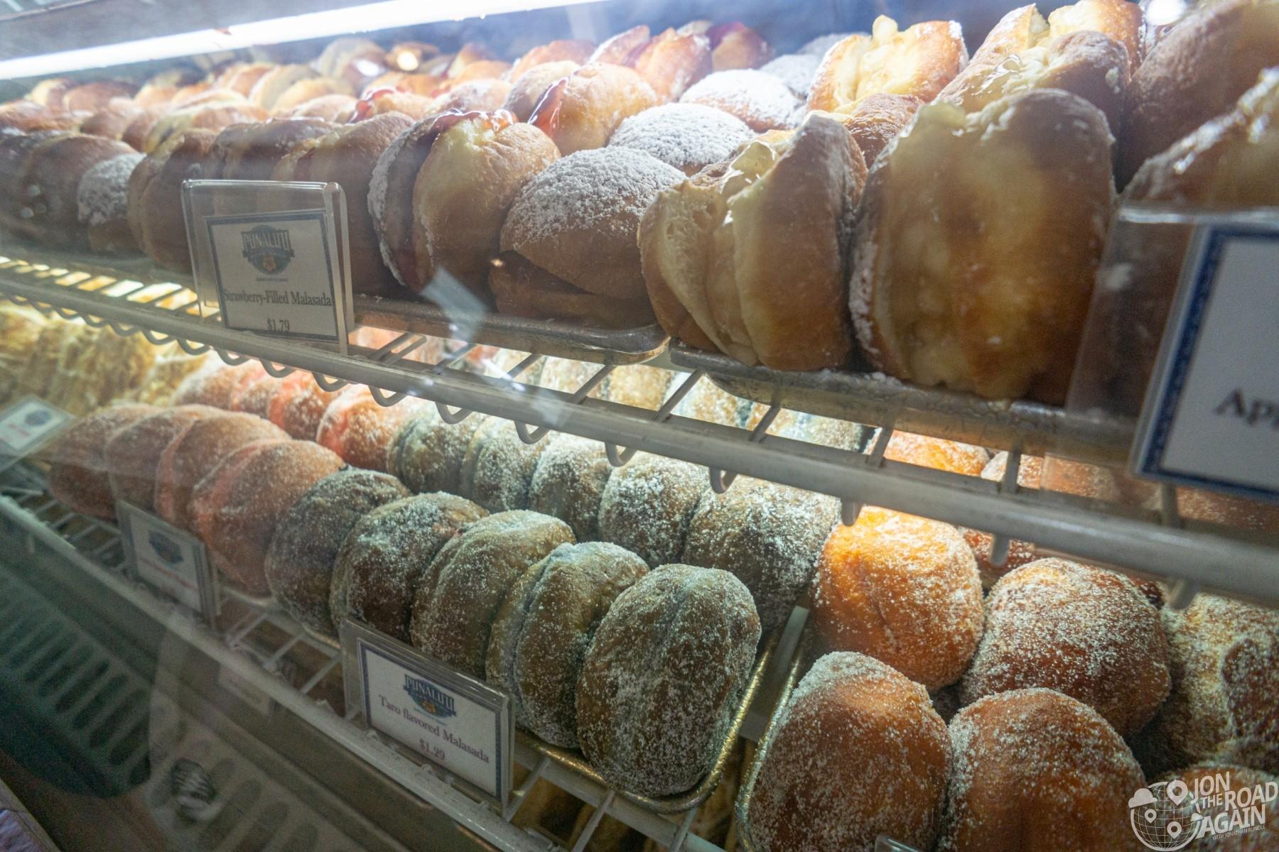 Filled malasadas at Punalu'u bake shop