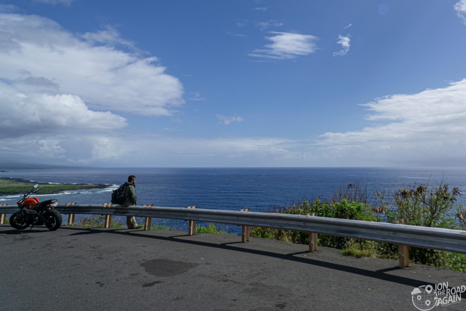 Motorcyclist on Big Island Coastline