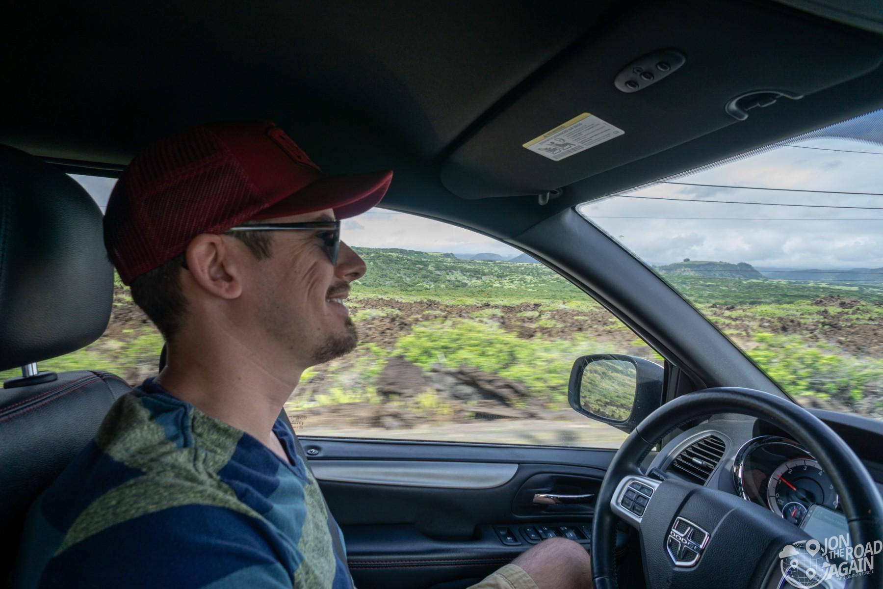 Jon the road again driving