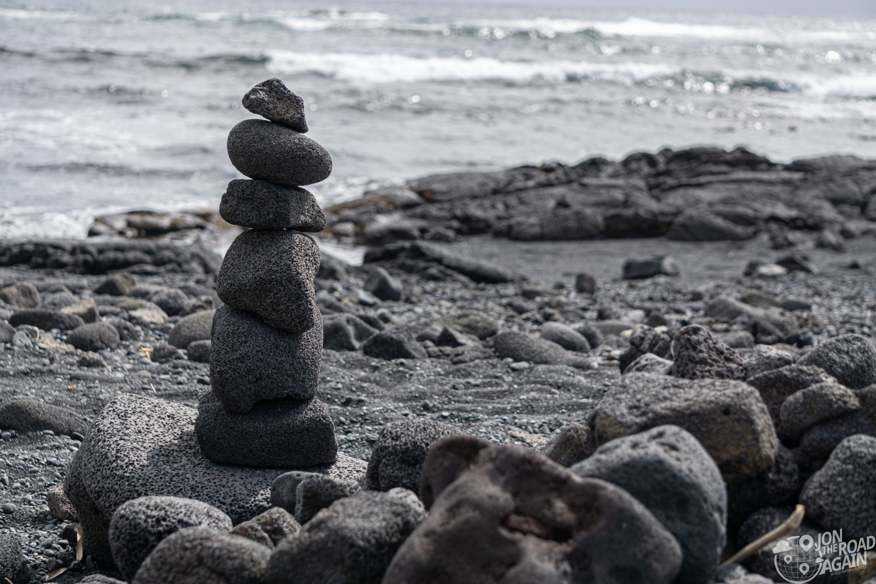Rock tower at Punalu'u black sand beach