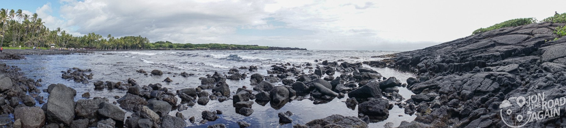 Punalu'u black sand beach panorama
