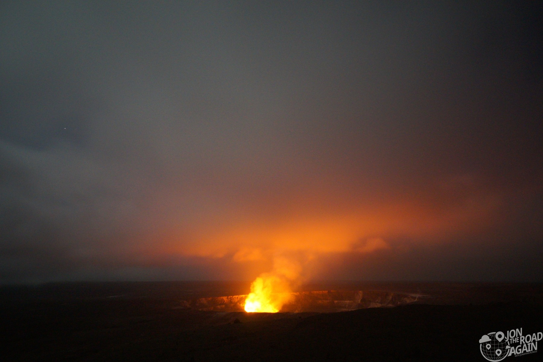 Kilauea crater at night