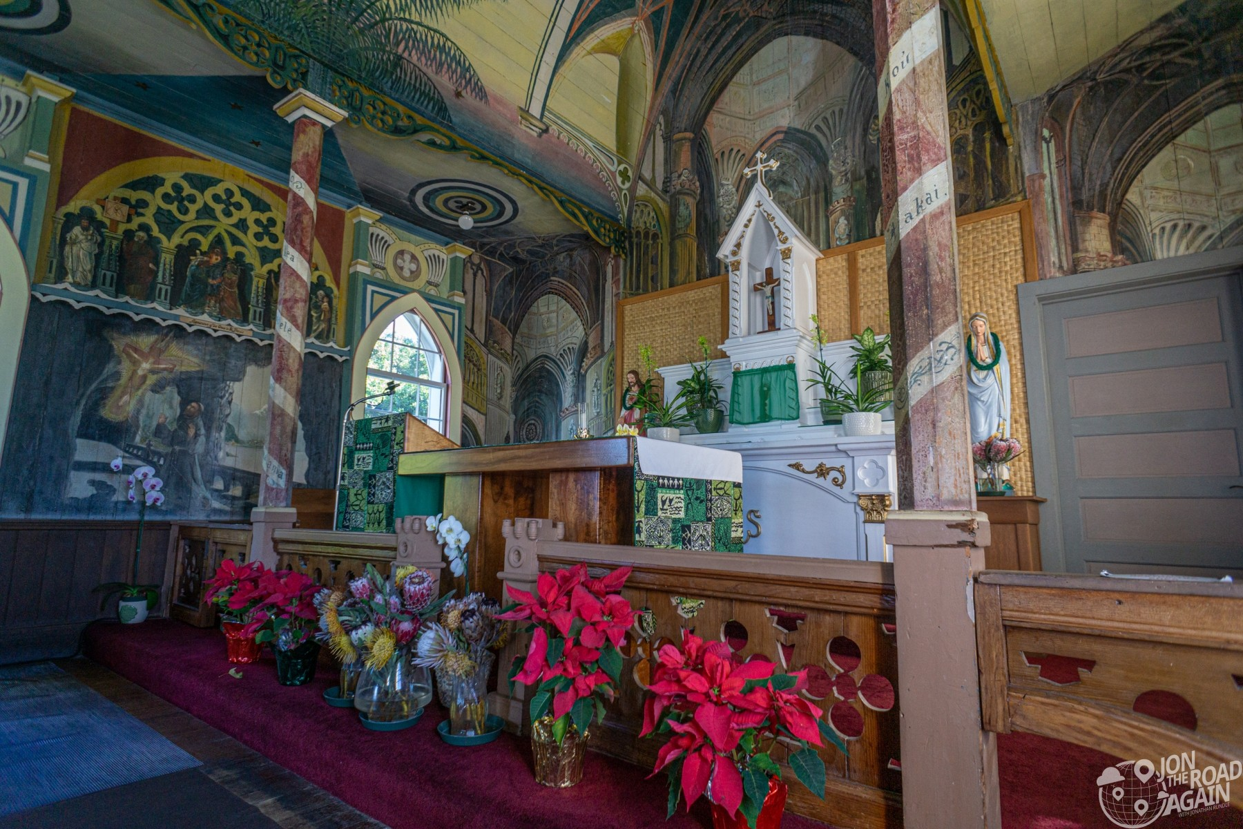 Mom at St. Benedict Painted Church Altar
