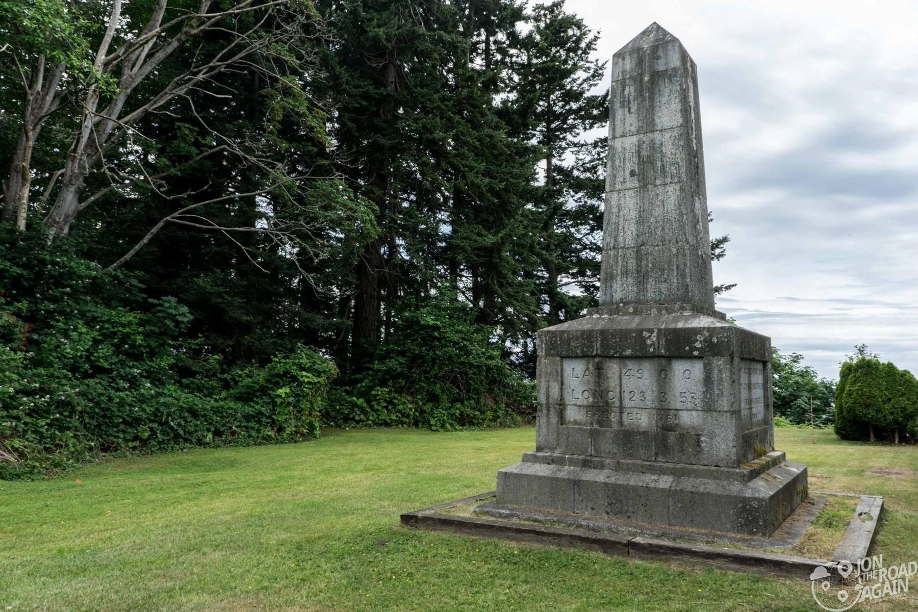US / Canadian Border Obelisk at Point Roberts