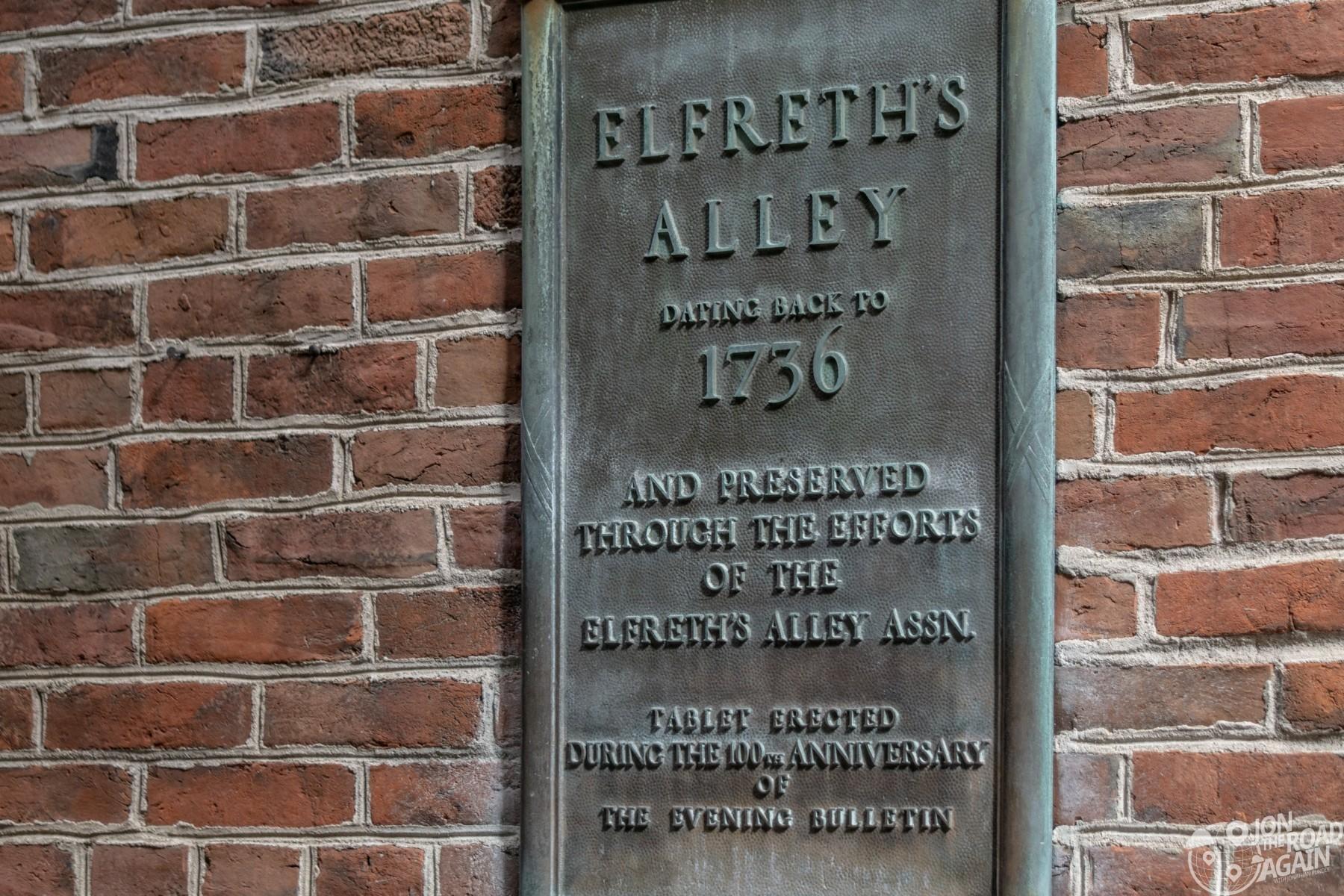 Elfreth's Alley Plaque