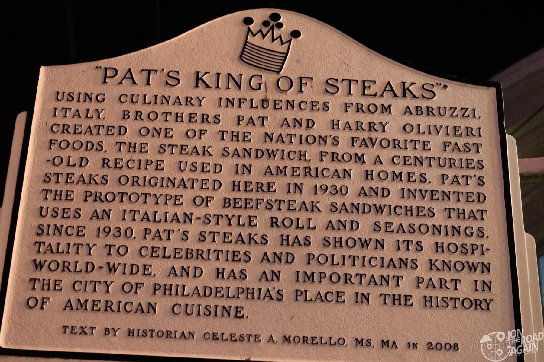 Pat's King of Steaks Historic Marker