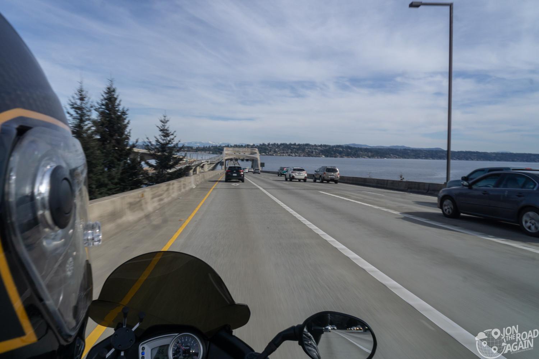 I-90 floating bridge on motorcycle