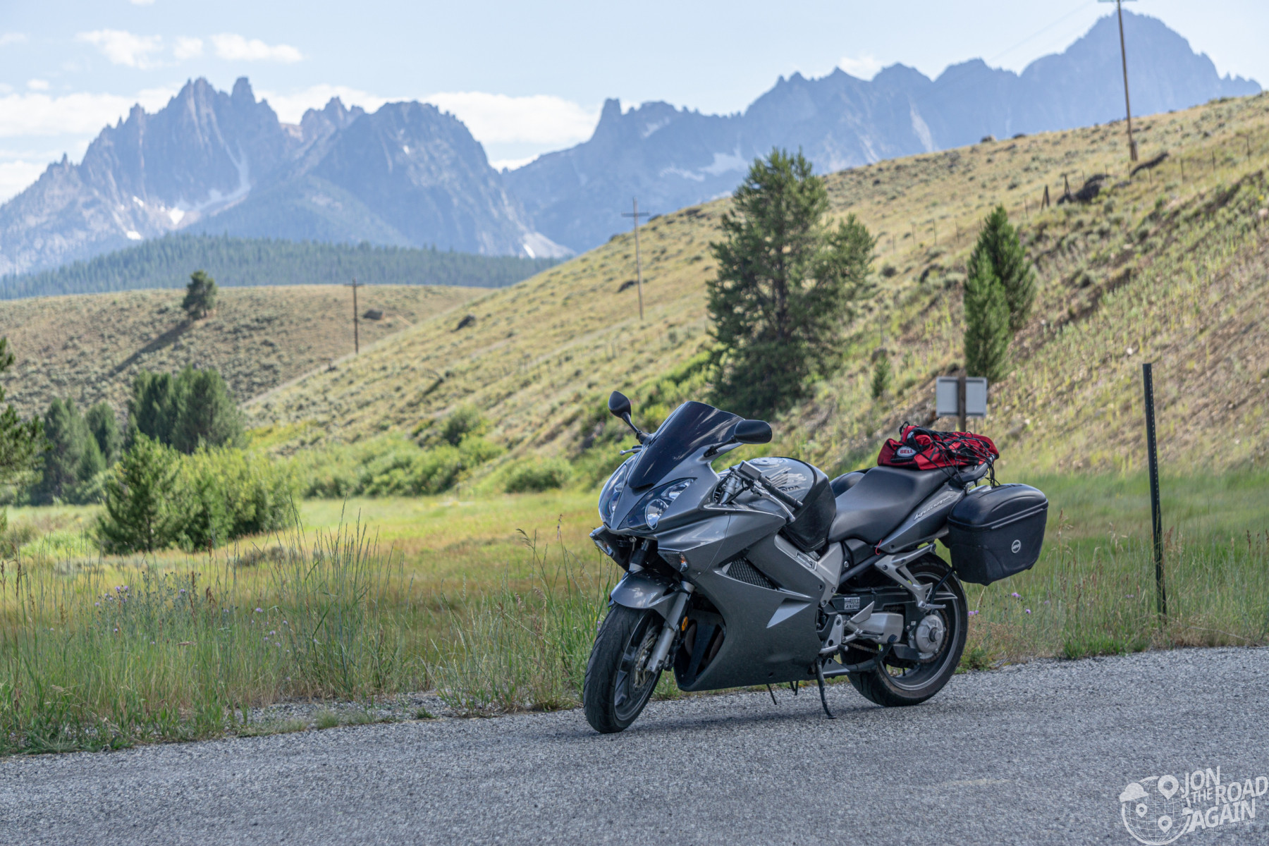 Motorcycle with Sawtooth Mountains in Idaho