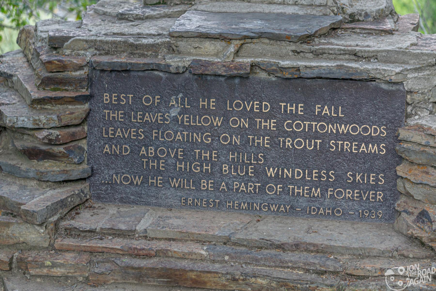 Ernest Hemingway Memorial plaque