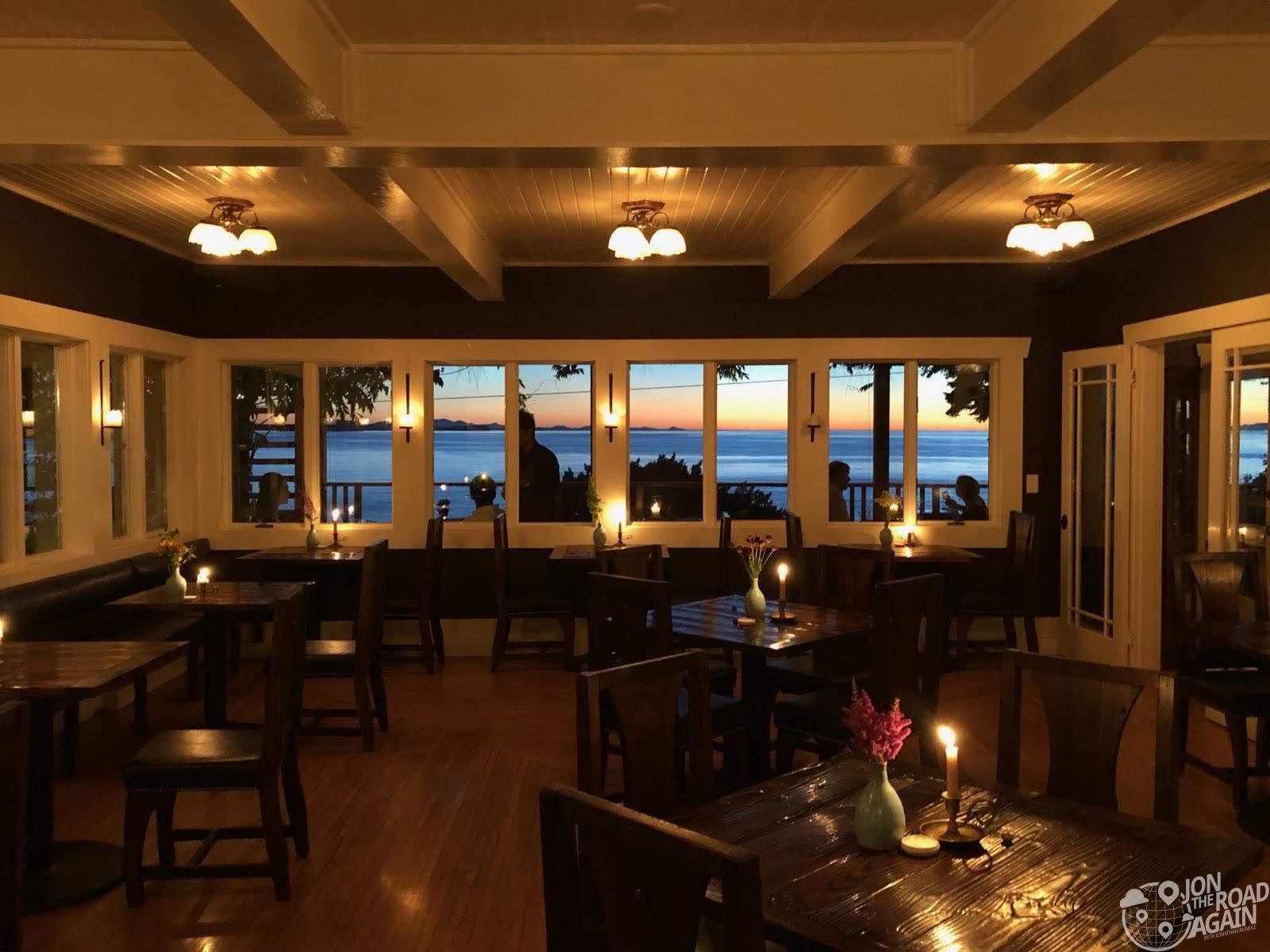 Willows Inn Dining Room Sunset